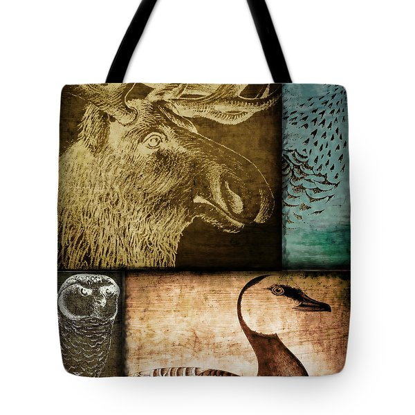 Wild Game Primitive Patchwork Tote Bag