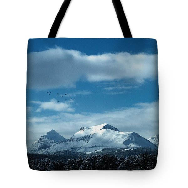 Wild Geese Over Calf Robe Tote Bag