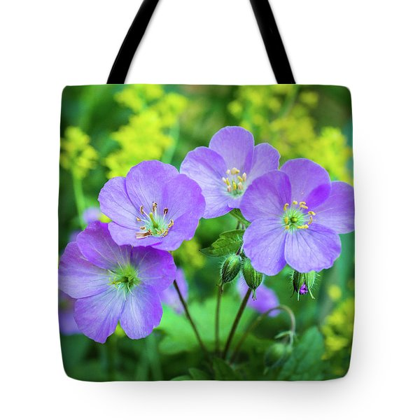 Wild Geranium Family Portrait Tote Bag