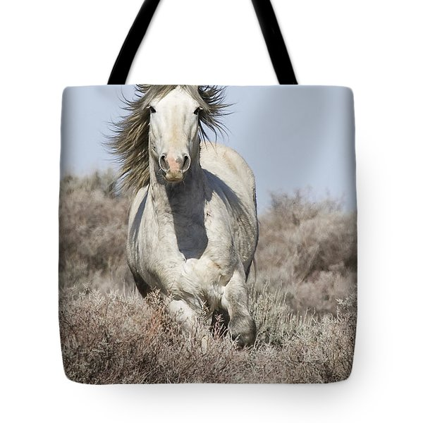 Wild Grey Stallion Runs Close Tote Bag by Carol Walker