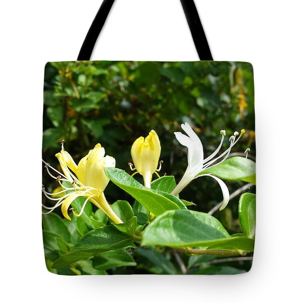 Tote Bag featuring the photograph Wild Honeysuckles by Deb Martin-Webster