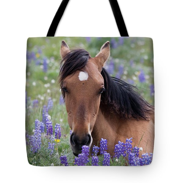 Wild Horse Among Lupines Tote Bag