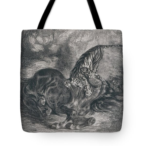 Wild Horse Felled By A Tiger Tote Bag