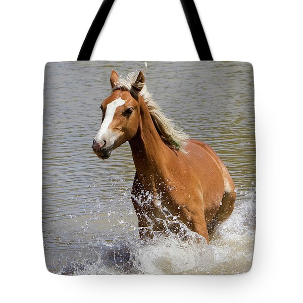 Wild Horse Splashing At The Water Hole Tote Bag