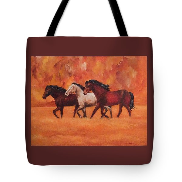 Wild Horses Tote Bag by Ellen Canfield
