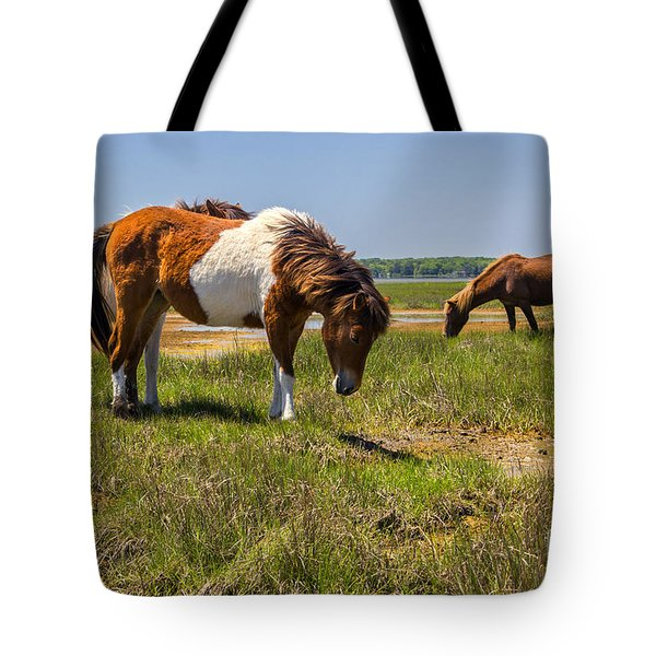 Wild Horses Of Assateague Tote Bag