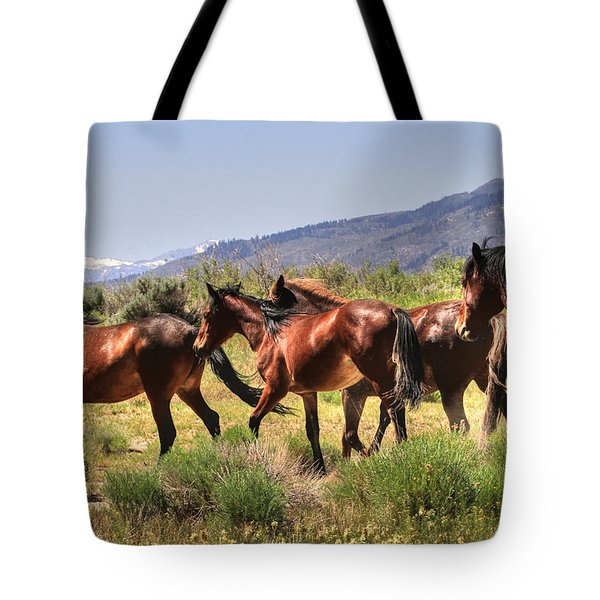 Wild Horses Of Nevada Tote Bag by Donna Kennedy