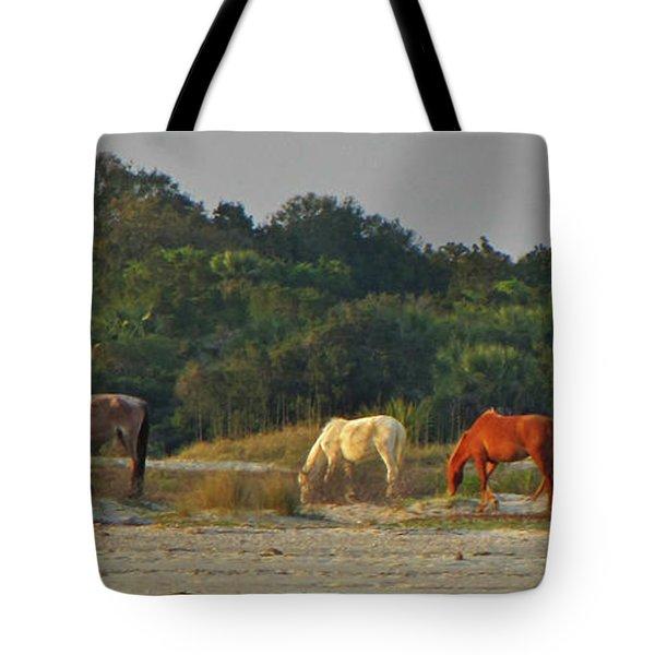 Wild Horses On Beach Tote Bag by Peg Urban