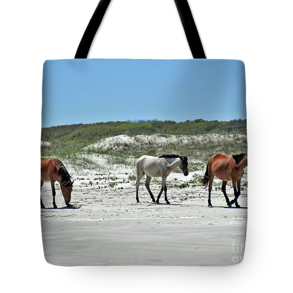 Wild Horses On The Beach Tote Bag