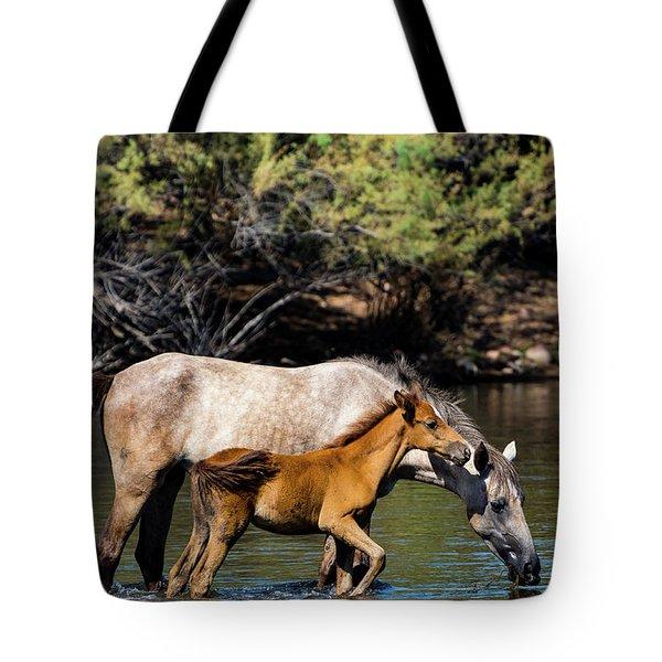 Wild Horses On The Salt River Tote Bag
