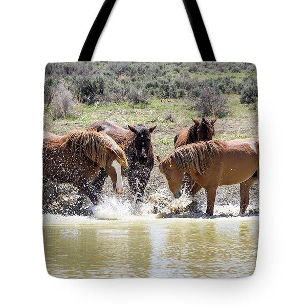 Wild Mustang Stallions Playing In The Water - Sand Wash Basin Tote Bag