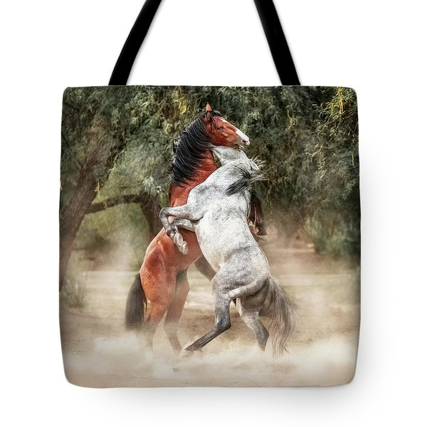 Wild Horses Rearing Up Play Fighting Tote Bag
