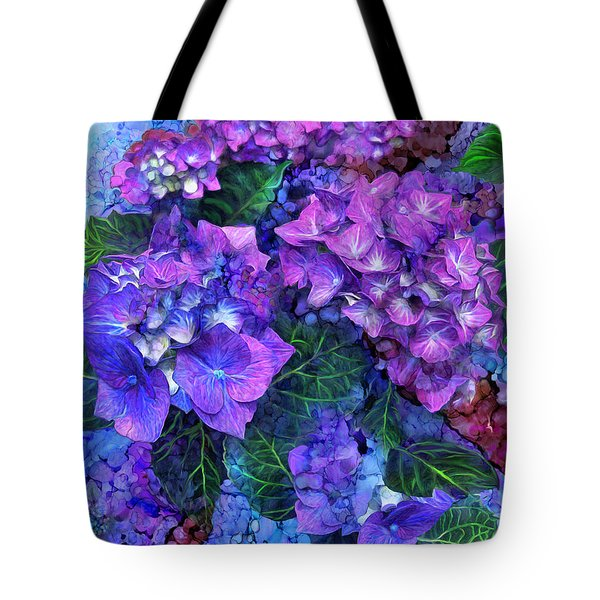 Tote Bag featuring the mixed media Wild Hydrangeas by Carol Cavalaris
