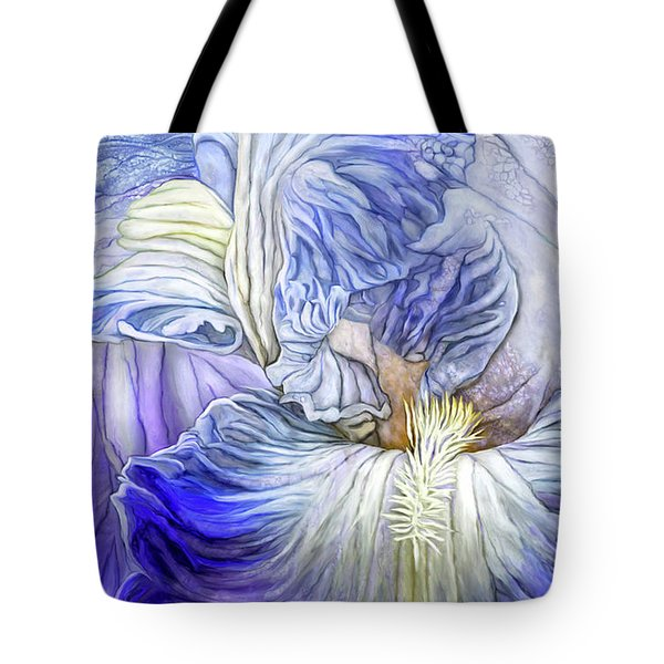 Tote Bag featuring the mixed media Wild Iris Blue by Carol Cavalaris