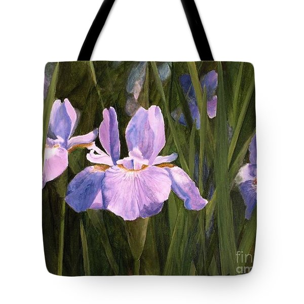 Tote Bag featuring the painting Wild Iris by Laurie Rohner