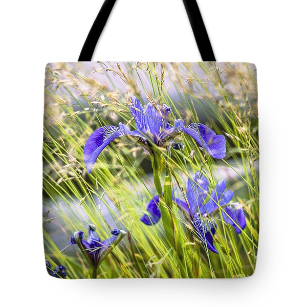 Wild Irises Tote Bag by Marty Saccone