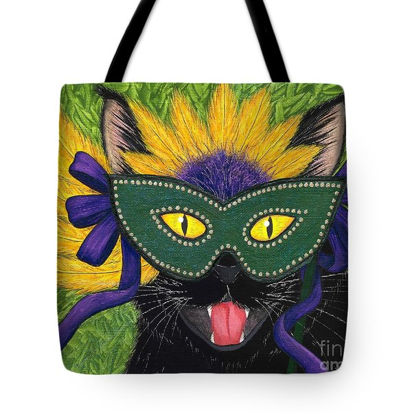 Wild Mardi Gras Cat Tote Bag