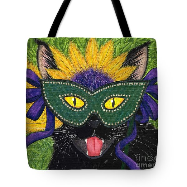 Tote Bag featuring the painting Wild Mardi Gras Cat by Carrie Hawks