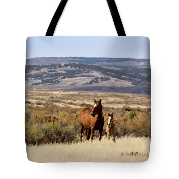 Wild Mare With Young Foal In Sand Wash Basin Tote Bag