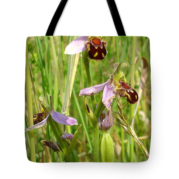 Wild Meadow Bee Orchids Tote Bag