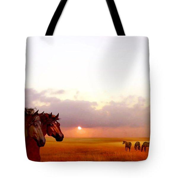 Wild Moorland Ponies Tote Bag
