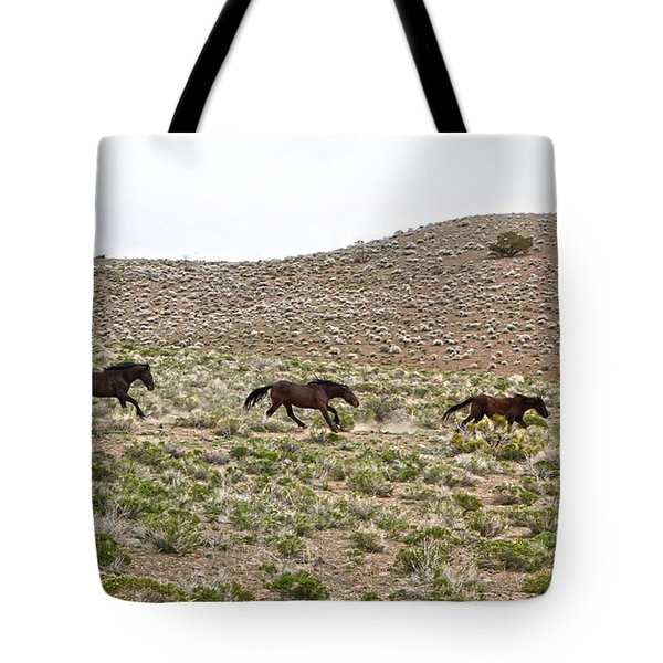 Wild Mustang Herd Running Tote Bag