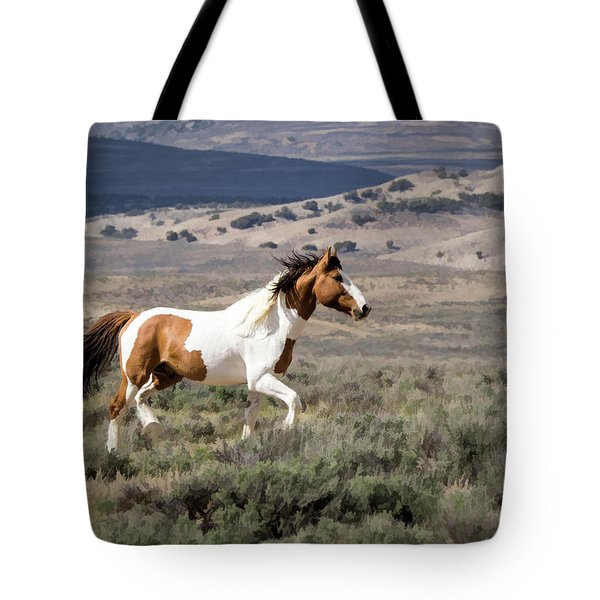 Wild Mustang Stallion On The Move In Sand Wash Basin Tote Bag