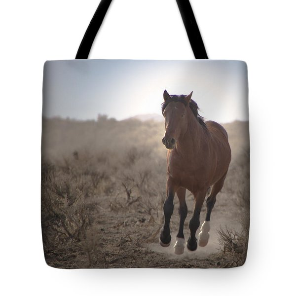Wild Mustang Stallion Running Tote Bag