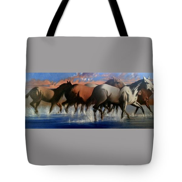 Wild Mustangs Of The Verder River Tote Bag