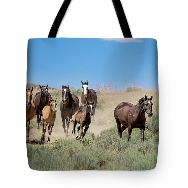 wild mustangs on the run to the water hole in Sand Wash Basin Tote Bag