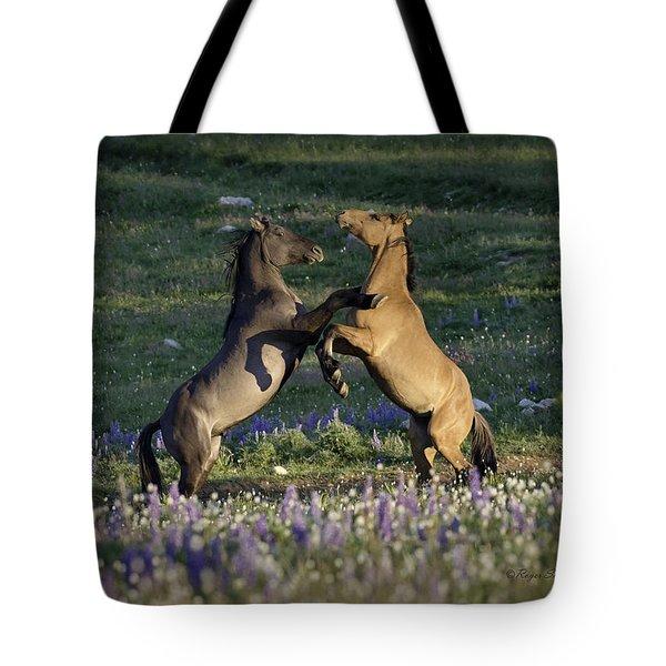 Wild Mustangs Playing 1 Tote Bag