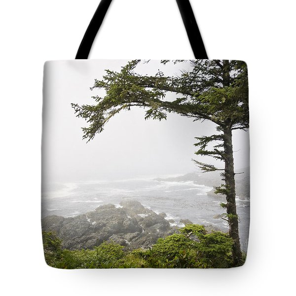 Tote Bag featuring the photograph In The Fog On The Wild Pacific Trail by Maria Janicki