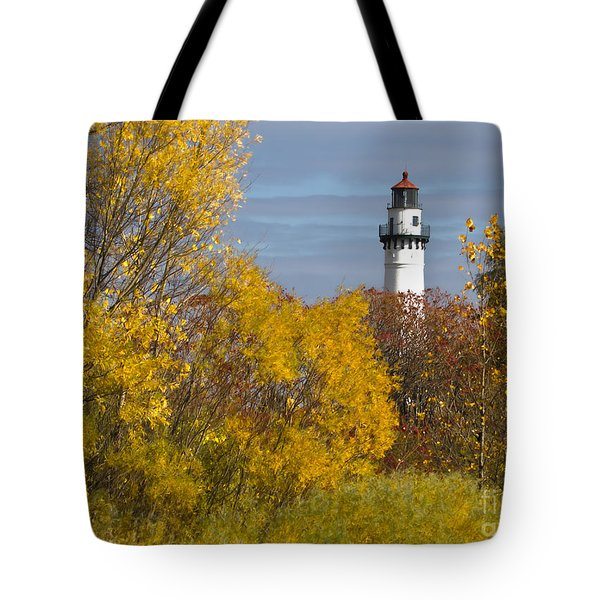 Wind Point Lighthouse In Fall Tote Bag