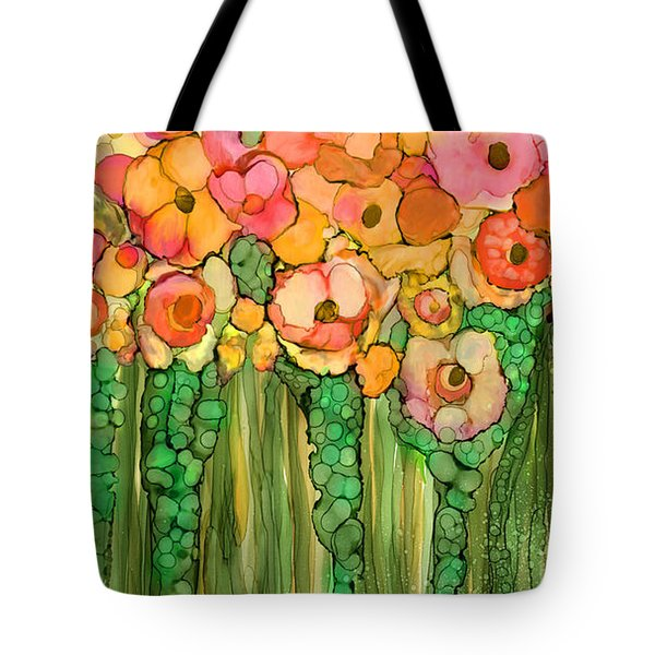 Tote Bag featuring the mixed media Wild Poppy Garden - Gold by Carol Cavalaris