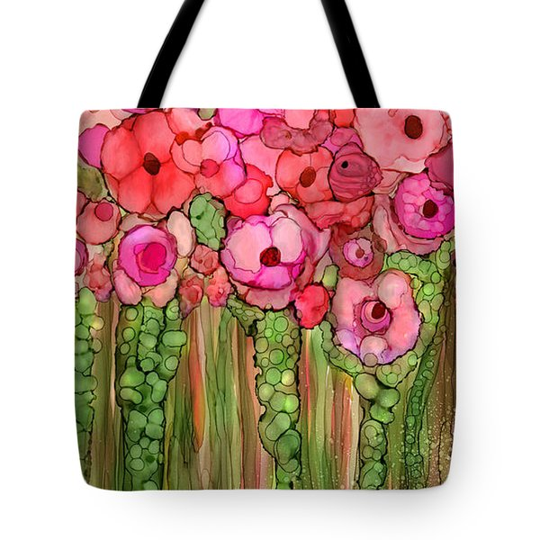 Tote Bag featuring the mixed media Wild Poppy Garden - Pink by Carol Cavalaris