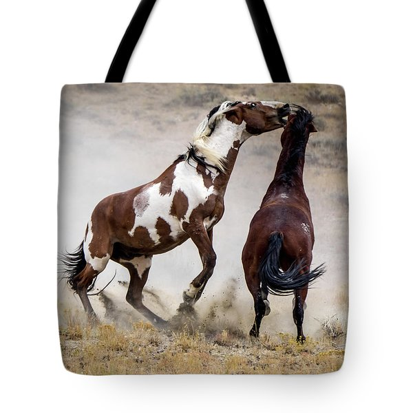 Wild Stallion Battle - Picasso And Dragon Tote Bag by Nadja Rider