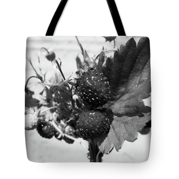 Wild Strawberry, Black And White Tote Bag