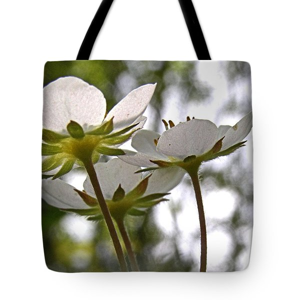 Tote Bag featuring the photograph Wild Strawberry Blossoms by Angie Rea