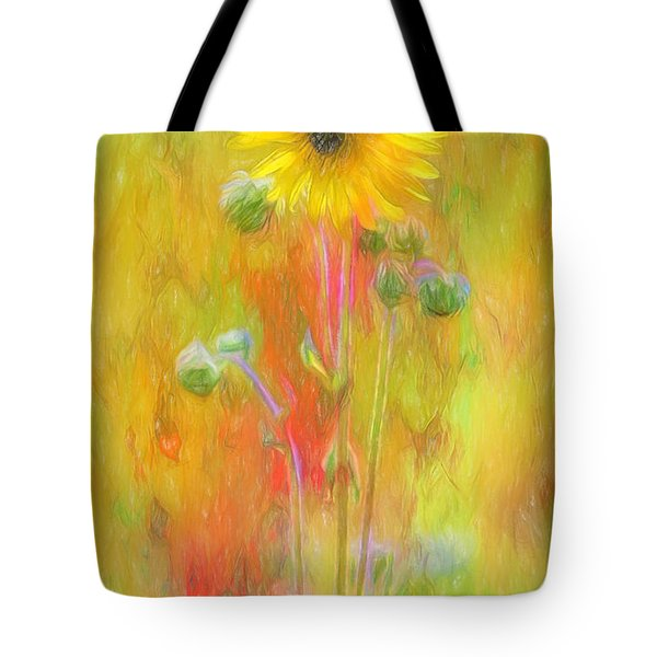 Wild Sunflower Digitally Painted Photograph Tote Bag