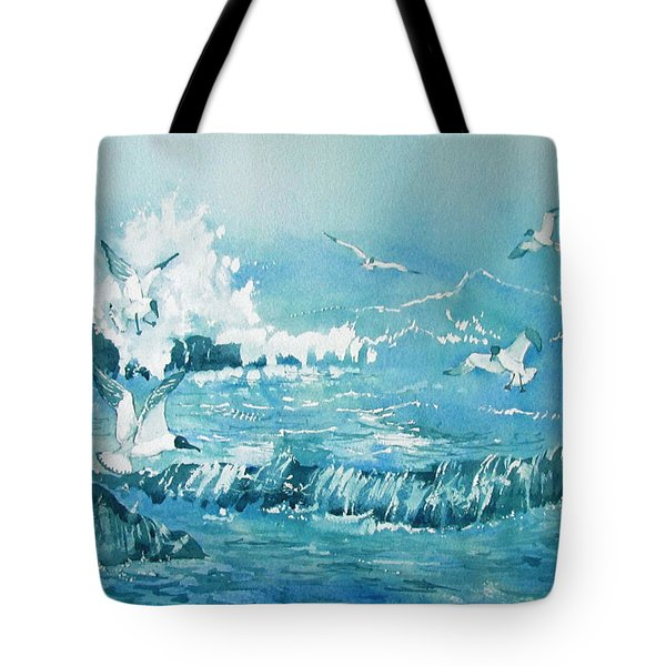 Wild Waves With Gulls Tote Bag