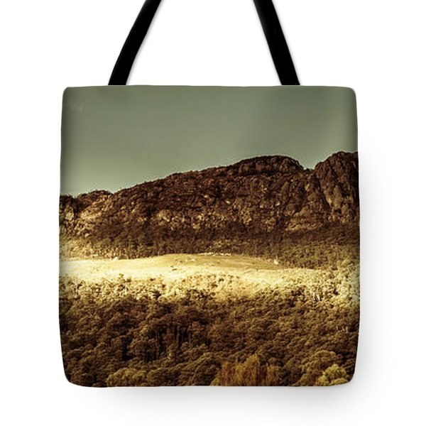 Wild West Mountain Panorama Tote Bag
