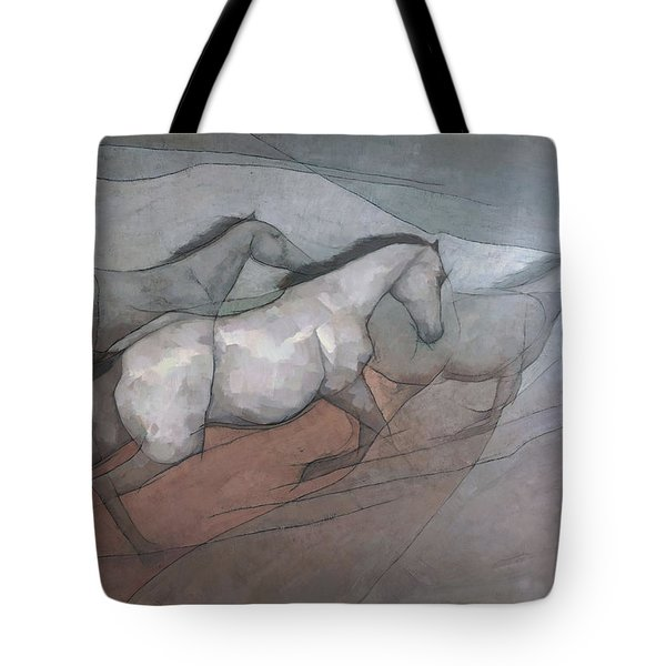 Wild White Horses Tote Bag