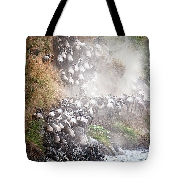 Wildebeest Climbing Up Mara River Bank Tote Bag