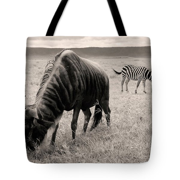 Wildebeest And Zebra Tote Bag