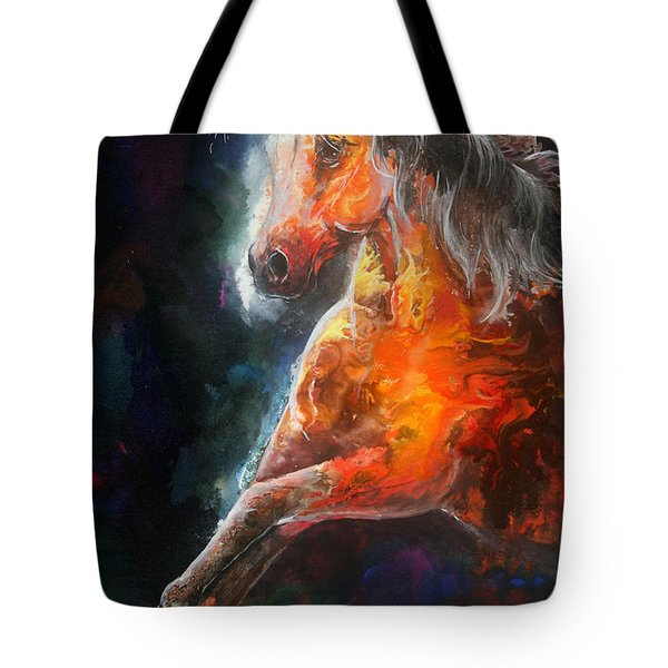 Tote Bag featuring the painting Wildfire Fire Horse by Sherry Shipley