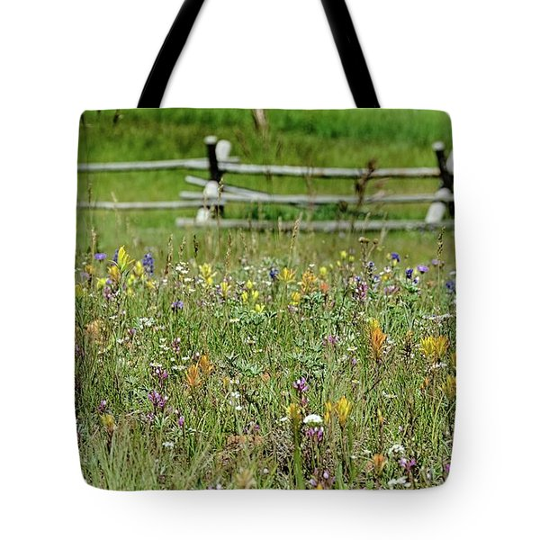 Wildflower Fence Tote Bag