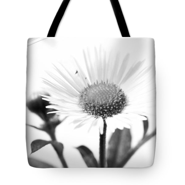 Wildflower In A Wine Glass Black And White Tote Bag