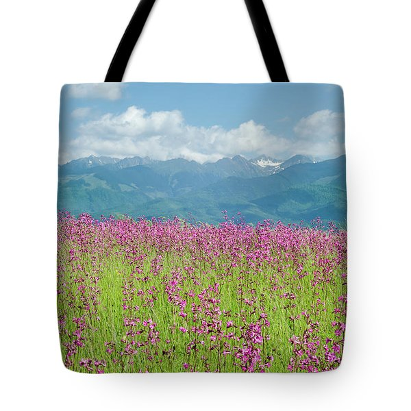 Wildflower Meadows And The Carpathian Mountains, Romania Tote Bag