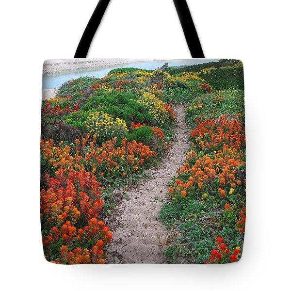Wildflower Path At Ribera Beach Tote Bag