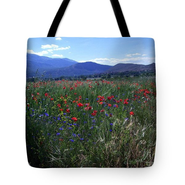 Wildflower Path Tote Bag by Judy Kirouac